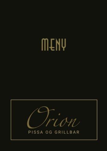 Hovedmeny Orion Pizza og grillbar