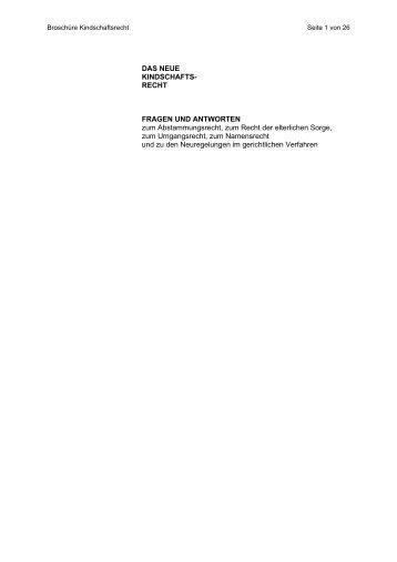 DAS NEUE KINDSCHAFTS- RECHT FRAGEN UND ANTWORTEN ...