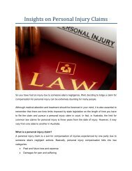 Insights on Personal Injury Claims