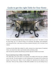 Guide to get the right Table for Your Home
