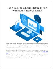 Top 5 Lessons to Learn Before Hiring White Label SEO Company