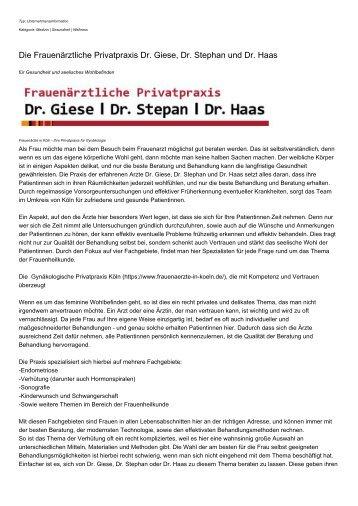 Die Frauenaerztliche Privatpraxis Dr. Giese, Dr. Stephan und Dr. Haas