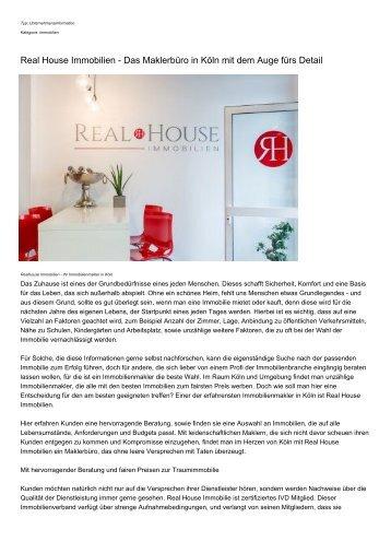 Real House Immobilien - Das Maklerbuero in Koeln mit dem Auge fuers Detail
