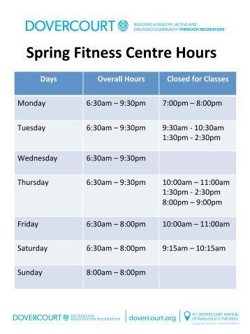 Dovercourt Fitness Centre schedule Spring 2019