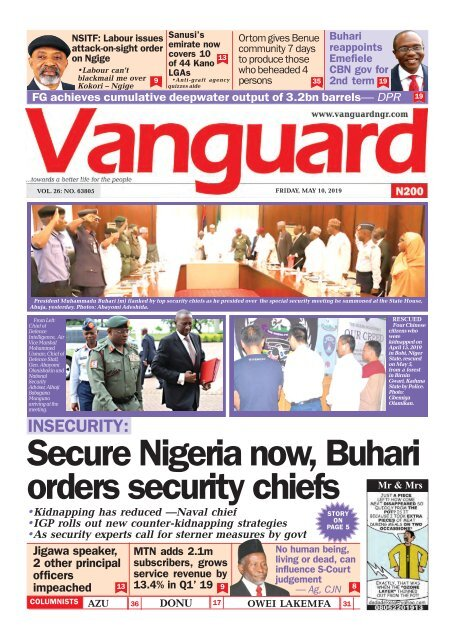 10052019 INSECURITY:Secure Nigeria now, Buhari orders