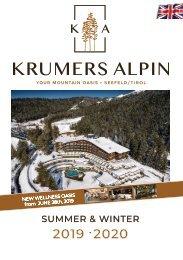 Krumers Alpin - Preisliste 2019 / 2020 | ENGLISCH