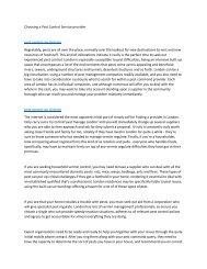 Choosing a Pest Control Service provider6