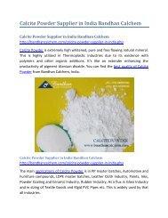 Calcite Powder Supplier in India Bandhan Calchem