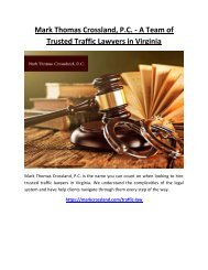 Mark Thomas Crossland, P.C. - A Team of Trusted Traffic Lawyers in Virginia