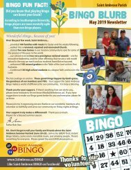St. Ambrose Bingo May Newsletter