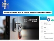 Secure Your Home With a Trusted Residential Locksmith Service