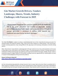 Gin Market Regional Outlook, Application Potential, Price Trend, Competitive Market Share & Forecast, 2025