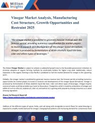 Vinegar Market Research – Industry Size, Share, Trends Analysis and Growth Forecast to 2025
