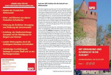 Flyer Kommunalwahl 2019 Stadtverordnetenversammlung Mittenwalde