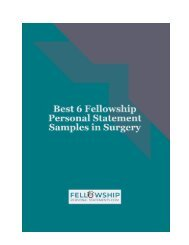 Best 6 fellowship Personal Statement Samples in Surgery