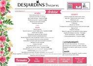 Carte brasserie Desjardins