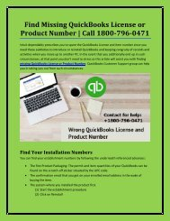 18007960471 Find Missing QuickBooks License or Product Number