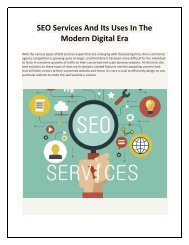 SEO Services And Its Uses In The Modern Digital Era