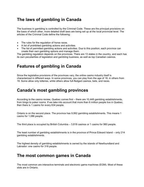 Casino Online Ontario