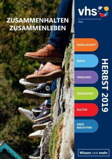 Zusammenhalten.Zusammenleben - Das Herbstprogramm 2019 der KVHS Harz