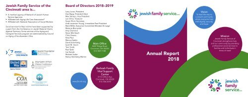 Jewish Family Service Cincinnati 2018 Annual Report