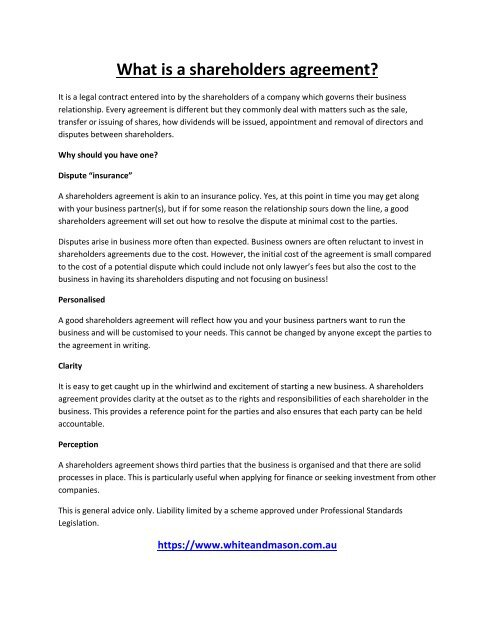 What is a shareholders agreement?