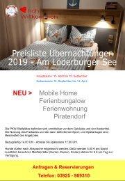 Preisliste Übernachtung 2019 Löderburger See