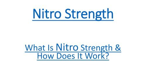 Nitro Strength  - Muscle Supplement,Performance,Reviews And Pills