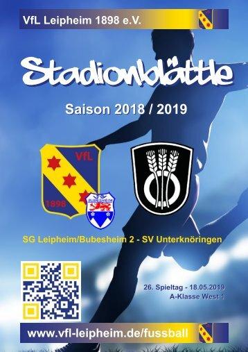 Stadionblättle 26. Spieltag: SG Leipheim/Bubesheim 2 - SV Unterknöringen