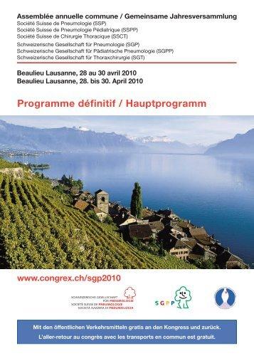 Programme définitif / Hauptprogramm - Congrex Schweiz