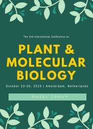 The 2nd edition International conference on Plant and Molecular Biology (PMB 2019)