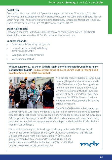 Programm Sachsen-Anhalt-Tag in Quedlinburg