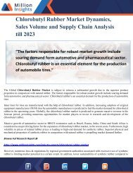Chlorobutyl Rubber Market Dynamics, Sales Volume and Supply Chain Analysis till 2023