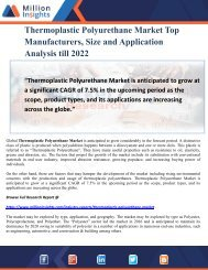 Thermoplastic Polyurethane Market Top Manufacturers, Size and Application Analysis till 2022