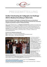 Pressemitteilung Fotoshooting Calligraphy-Cut-Challenge 2019