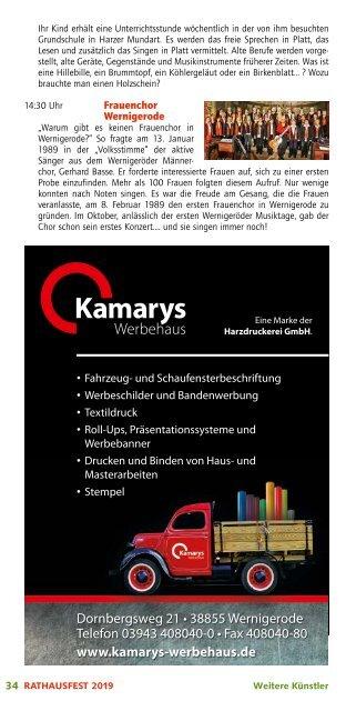 Programm Rathausfest Wernigerode 2019
