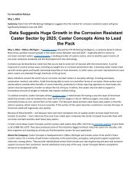Data Suggests Huge Growth in the Corrosion Resistant Caster Sector by 2025; Caster Concepts Aims to Lead the Pack