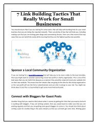 7 Link Building Tactics That Really Work for Small Businesses
