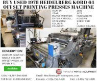 Buy Used 1978 Heidelberg KORD 64 Offset Printing Presses Machine