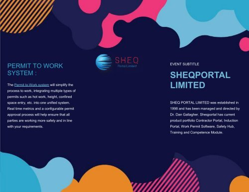 Permit to work system : Sheqportal