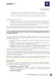 Communiqué de presse Partenariat HEADway Edtech France