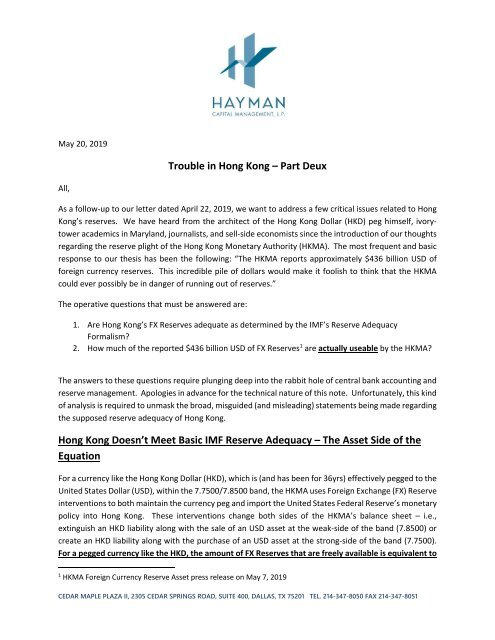 Trouble in Hong Kong- Part Deux (May 20 2019)