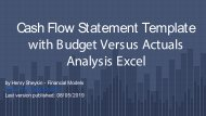 Cash Flow Statement Template with Budget Versus Actuals Analysis How To Methodology