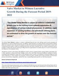 Valve Market to Witness Lucrative Growth During the Forecast Period 2019-2022