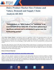 Dairy Product Market Size (Volume and Value), Demand and Supply Chain Analysis till 2021