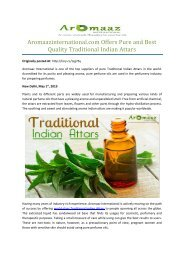 Aromaazinternational.com Offers Pure and Best Quality Traditional Indian Attars