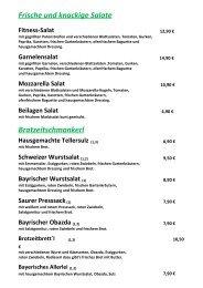 Speisekarte Sommerkeller 2019