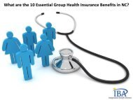 What are the 10 Essential Group Health Insurance Benefits in NC