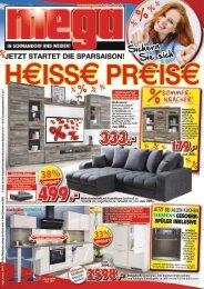 Heisse Preise! Jetzt startet die Sparsaisson - Mega Möbel in Schwandorf und Weiden