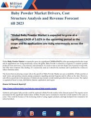 Baby Powder Market Drivers, Cost Structure Analysis and Revenue Forecast till 2023